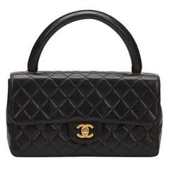 1990s Chanel Black Quilted Lambskin Vintage Timeless Kelly