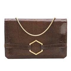 Dior classic and collectable 70s brown lizard clutch bag