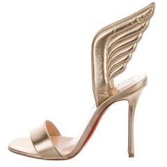 Christian Louboutin NEW & SOLD OUT Gold Leather Futuristic Sandals Heels in Box