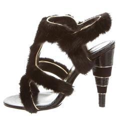 Salvatore Ferragamo NEW & SOLD OUT Black Mink Evening Sandals Heels in Box