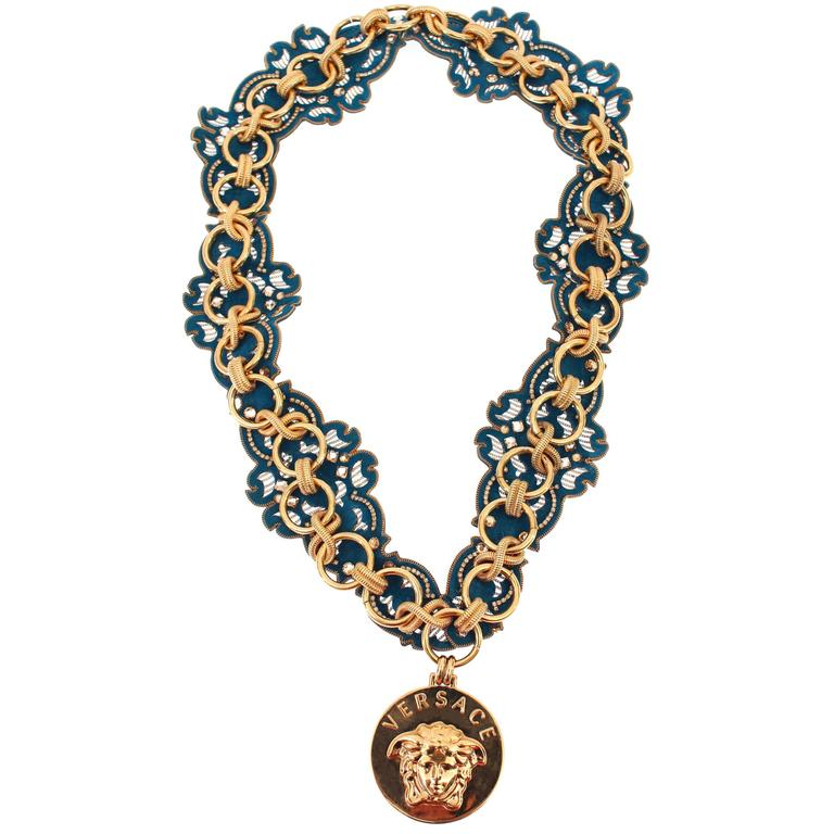 new versace runway chain and embellished necklace