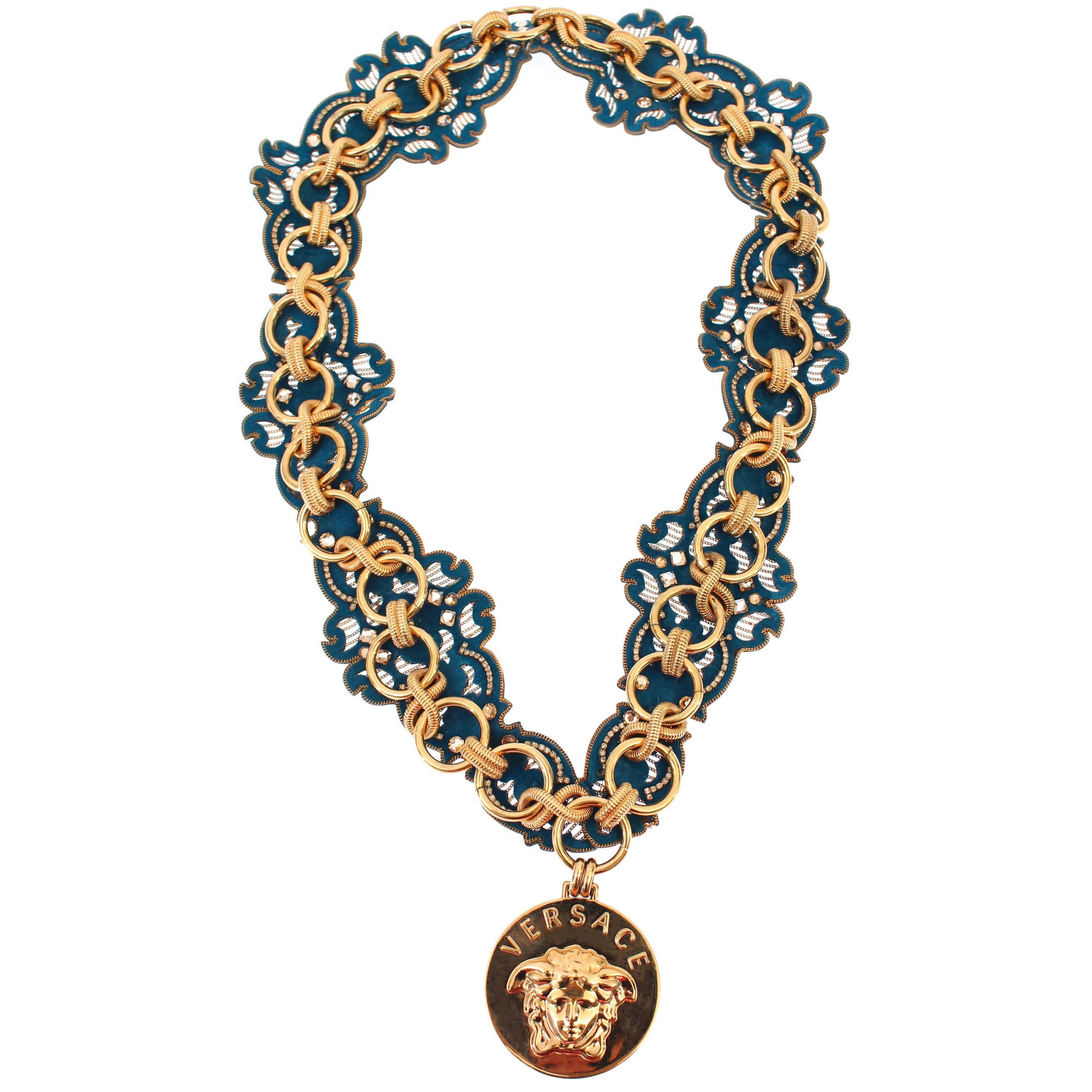 c6eb5da554723 VERSACE GOLD DOUBLE CHAIN NECKLACE w/ CRYSTAL EMBELLISHED MEDUSA