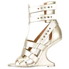 Rick Owens NEW & SOLD OUT Metallic Leather Gladiator Sandals Heels in Box