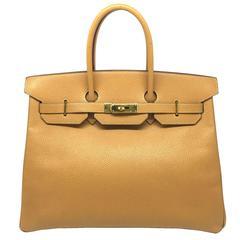 Hermes Birkin 35 Brown Caramel Swift Leather SHW Top Handle Bag