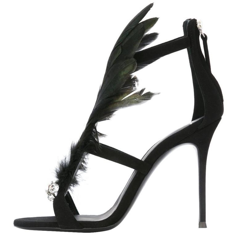 Giuseppe Zanotti NEW & SOLD OUT Black Peacock Evening Sandals Heels in Box For Sale