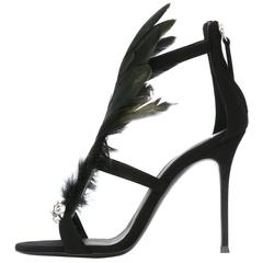 Giuseppe Zanotti NEW & SOLD OUT Black Peacock Evening Sandals Heels in Box
