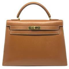 Hermes Kelly 32 Brown Cigare Epsom Leather GHW Top Handle Bag