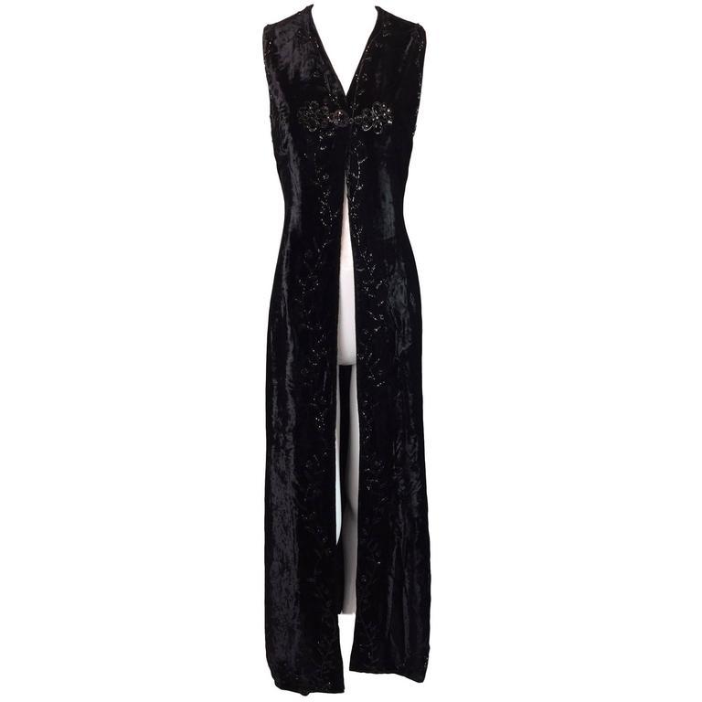 F/W 1993 Dolce & Gabbana Orient Express Long Beaded Crystal Velvet Gown Dress