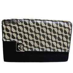Mod Pierre Cardin Clutch Bag Purse with Black and Silver Mesh 1960s