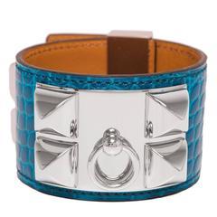 Hermes Blue Izmir Alligator Collier De Chien (CDC) Bracelet Small