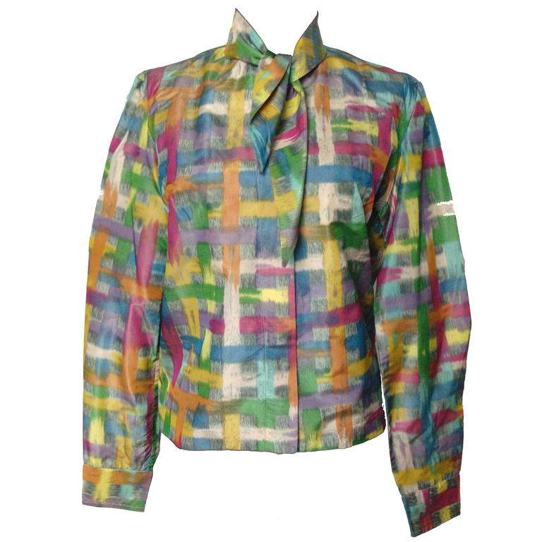 Vintage Christian Dior Watercolor Print Blouse with Tie Wrap Collar Size S 60s 1