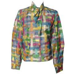 Vintage Christian Dior Watercolor Print Blouse with Tie Wrap Collar Size S 60s