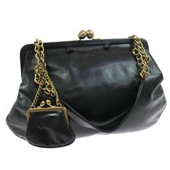 Chanel Black Leather Gold Kisslock Matching Pouch Evening Clutch Shoulder Bag