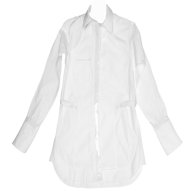 Balenciaga White Cotton & Leather Shirt 1