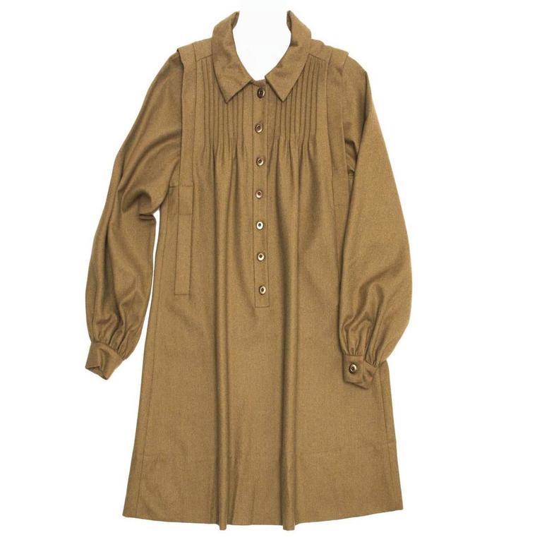 Chloe' Army Green Wool Shirt Dress For Sale