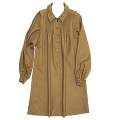 Chloe' Army Green Wool Shirt Dress
