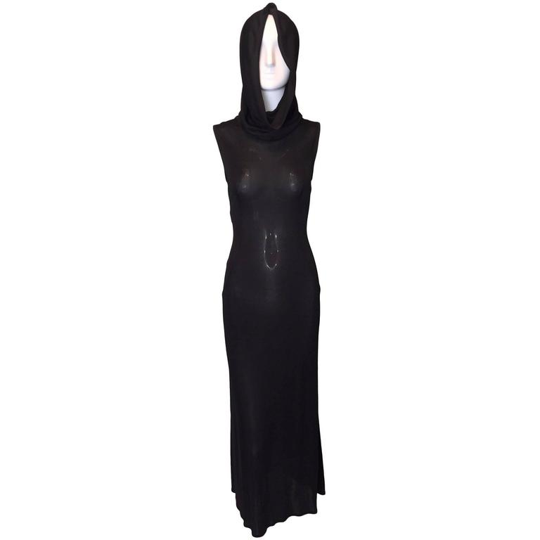 S/S 1996 Dolce & Gabbana Runway Black Sheer Hooded Dress For Sale