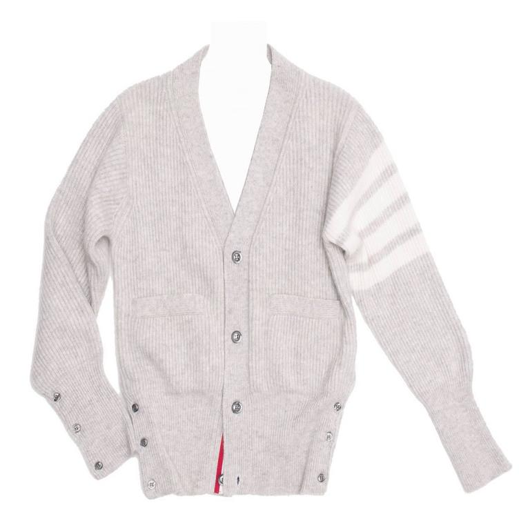 Thom Browne Light Grey Cashmere Cardigan