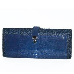VBH Blue Shagreen Rectangular Compact 1st Ed 123/300 Clutch