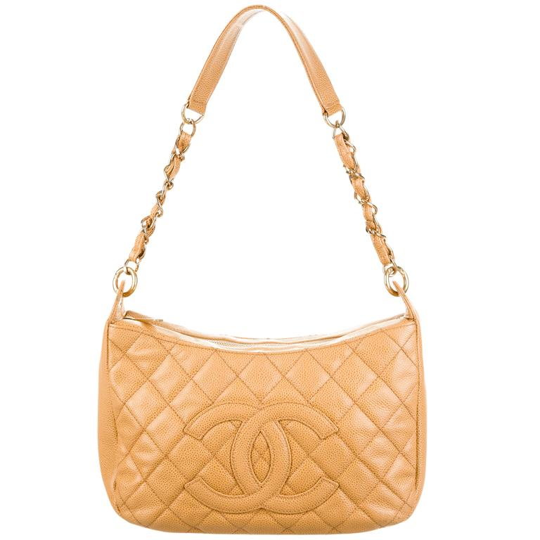 Chanel Nude Caviar Leather Gold Evening Top Handle Satchel Chain Shoulder Bag 1