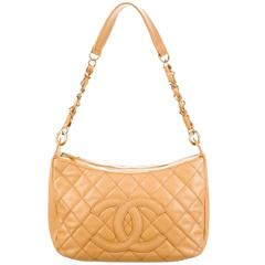 Chanel Nude Caviar Leather Gold Evening Top Handle Satchel Chain Shoulder Bag