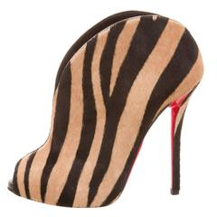 Christian Louboutin NEW & SOLD OUT Pony Open Toe Booties Heels in Box