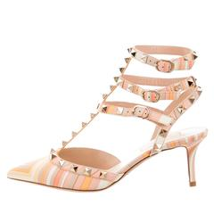 Valentino NEW & SOLD OUT Pastel Multi Leather Stud Ankle Sandals Heels in Box