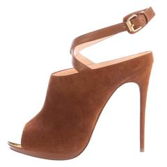 Christian Louboutin NEW Cognac Suede Peep Toe Ankle Sandals Heels in Box