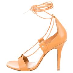 Isabel Marant NEW Beige Nude Leather Open Cut Out Lace Up Sandals Heels in Box