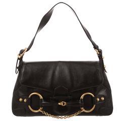 Tom Ford Gucci Black Leather Gold Evening Shoulder Top Handle Satchel Flap Bag