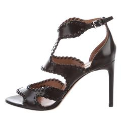Alaia NEW & SOL OUT Black Leather Fringe Cut Out Sandals Heels in Box