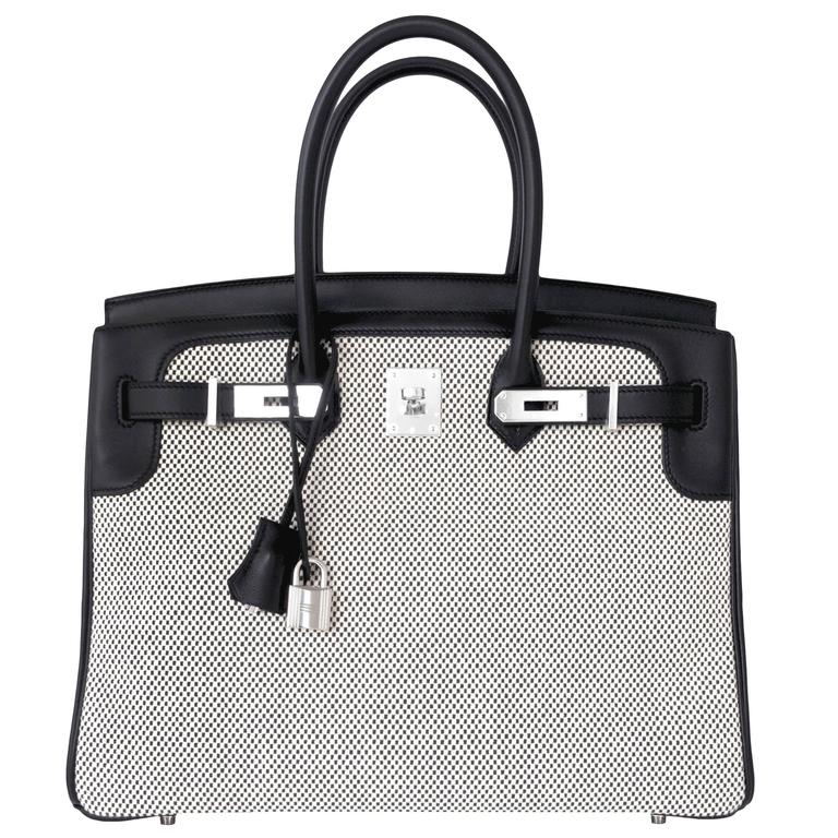 aa9193c504ae Hermes Black Swift Leather Criss Cross Ecru Graphite Toile 35cm Birkin VIP  For Sale