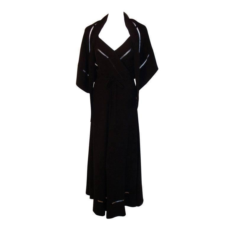 Christian Dior Haute Couture 2pc Black Gown w/Shawl, Betsy Bloomingdale 1970s For Sale