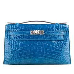 Hermes Mykonos Shiny Alligator Mini Kelly Pochette