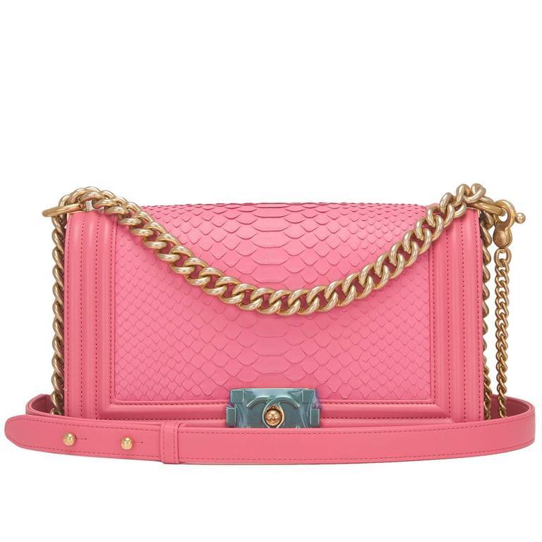 Chanel Pink Python Medium Boy Bag For Sale
