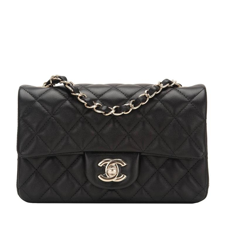 Chanel Black Quilted Lambskin Rectangular Mini Classic Flap Bag For Sale