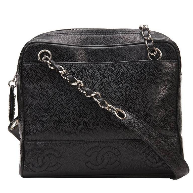 1996 Chanel Black Caviar Leather Vintage Timeless Shoulder Bag For Sale 9a19258b12a33