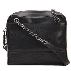1996 Chanel Black Caviar Leather Vintage Timeless Shoulder Bag