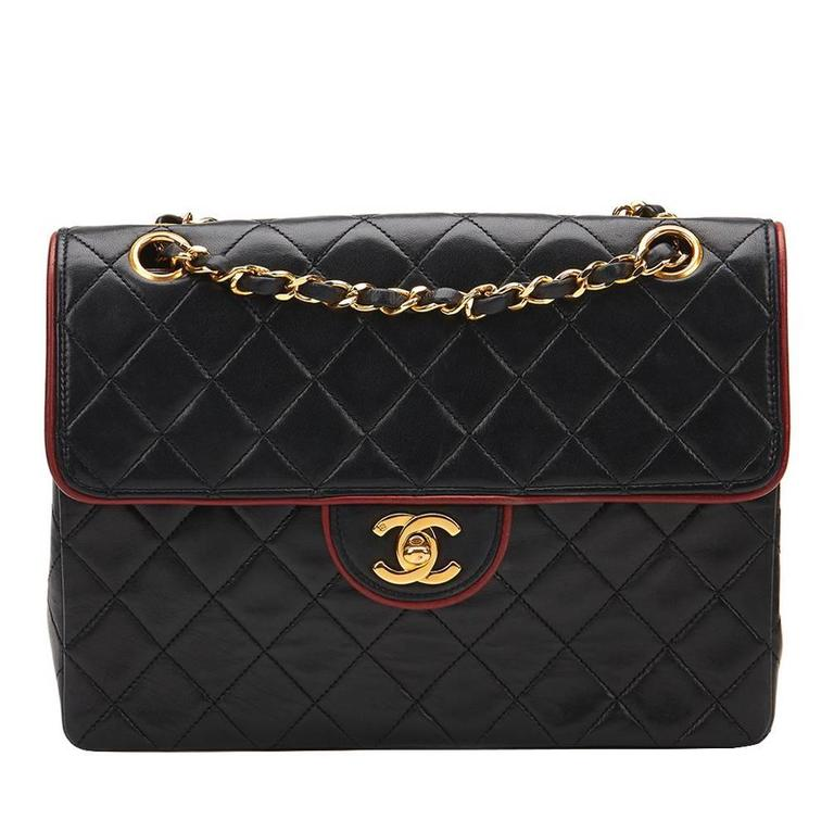 8c14156ebd 1980s Chanel Black Quilted Lambskin Vintage Classic Single Flap Bag For Sale
