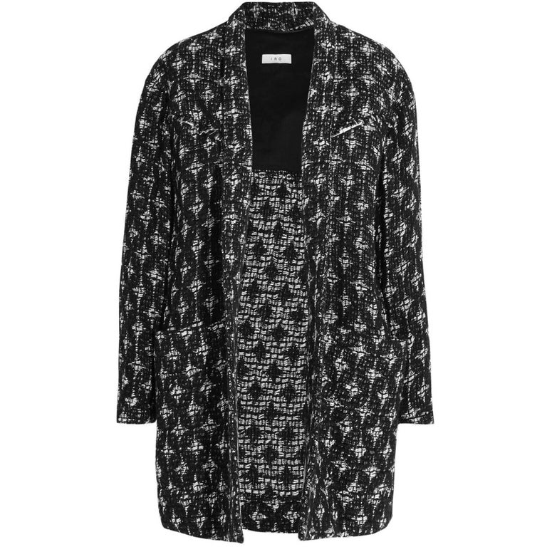 dd4d953caa97 IRO Yana Black and White Boucle Open Jacket sz FR42 For Sale at 1stdibs