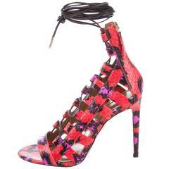 Aquazzura NEW Multi Color Leather Lace Up Cut Out Heels Sandals