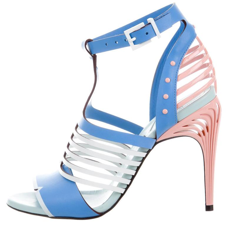 ceefa499544760 Fendi NEW Tiffany Blue Pink White Leather Cut Out Sandals Heels For Sale