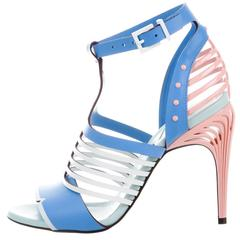 Fendi NEW Tiffany Blue Pink White Leather Cut Out Sandals Heels