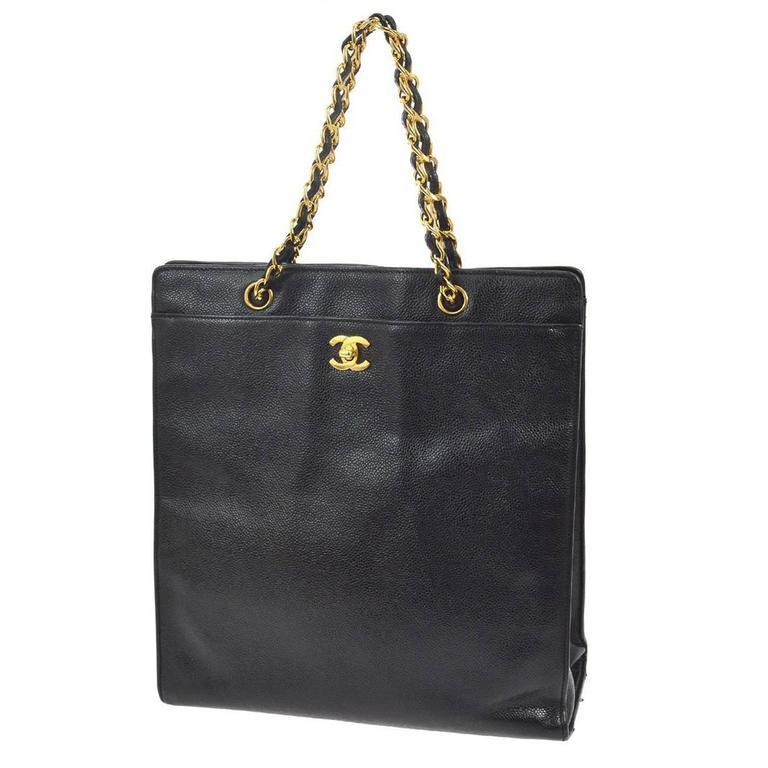 Chanel Vintage Black Caviar Leather Large Carryall Shopper Shoulder Bag For Sale