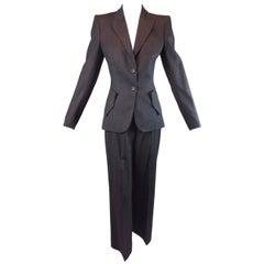 "F/W 1998 ""Joan"" Alexander McQueen Gray Structured Jacket Pant Suit 40 XS/S"