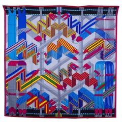 "Hermes Shawl ""Chale"" ""Sangles en Zigzag"" By Virginie Jamin Gray Chine / Turquois"