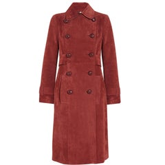New Gucci Brick Red Suede Belted Leather Buttons Women's Trench Coat It. 40