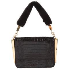 Giuseppe Zanotti Black Leather Gold Fur Evening Top Handle Shoulder Flap Bag