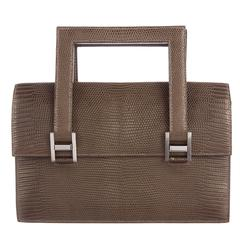 Hermes 'H' Buckle Taupe Reptile Leather Top Handle Satchel Evening Flap Bag