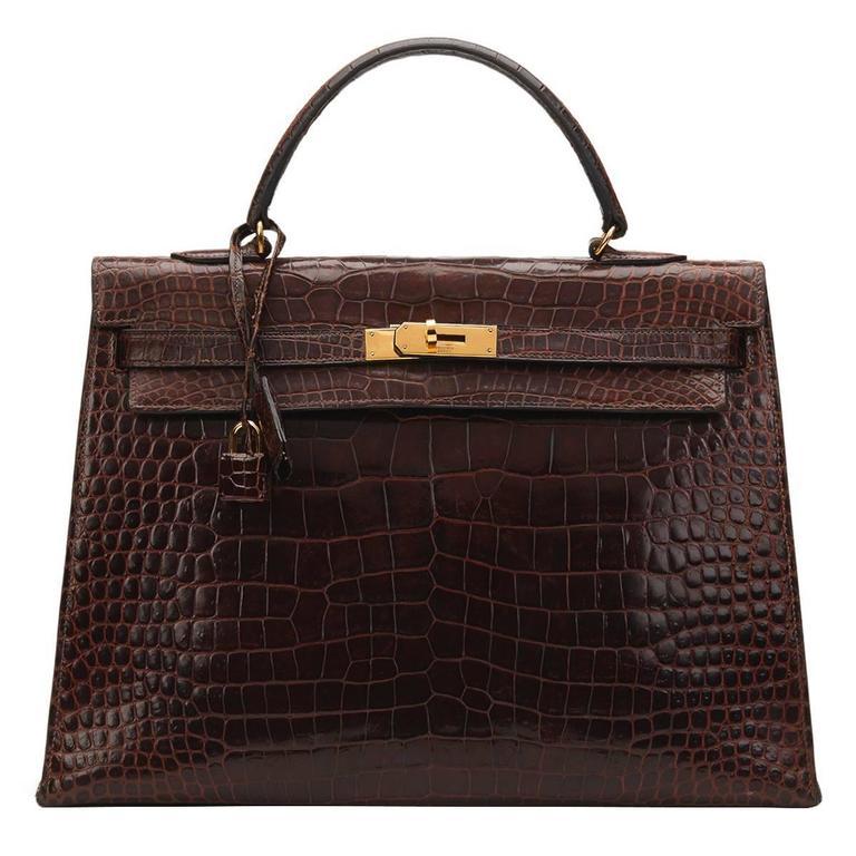 1974 Brown Crocodile Leather Vintage Kelly Sellier 35cm For Sale